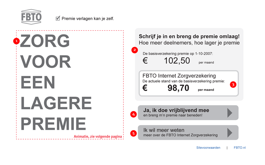 FBTO zorgverzekering - homepage - interaction design