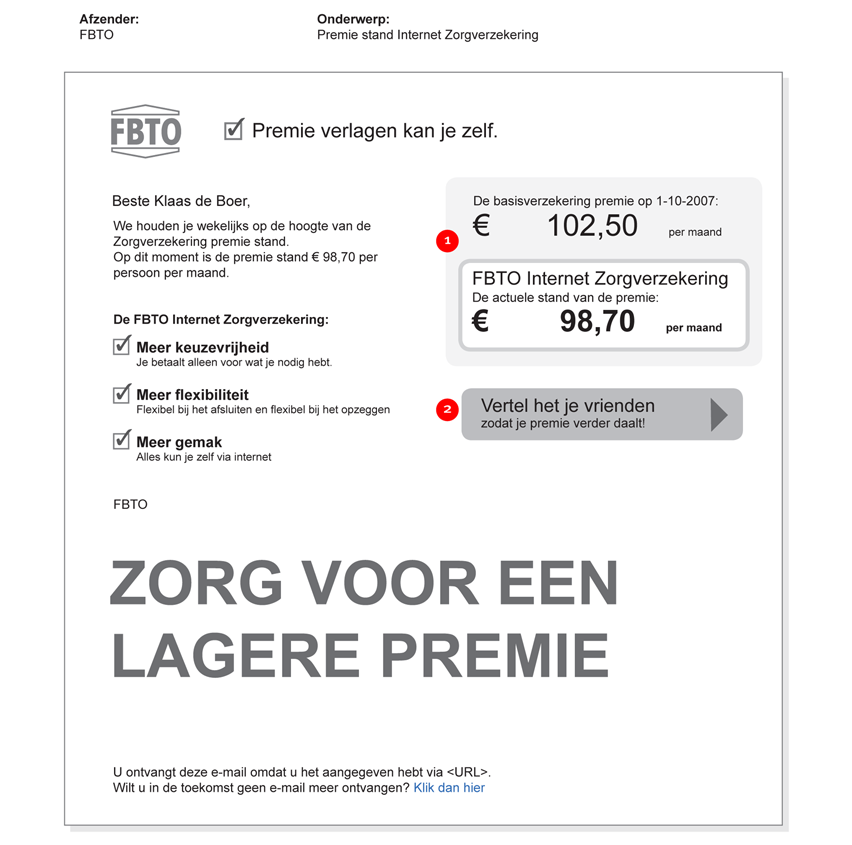 FBTO zorgverzekering - final emailing - interaction design
