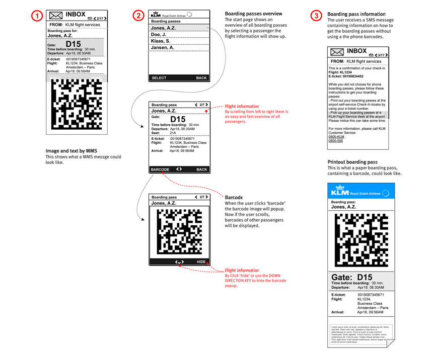 KLM Mobile internet check-in - interaction design