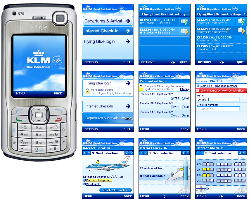 KLM Mobile internet check-in - visual design