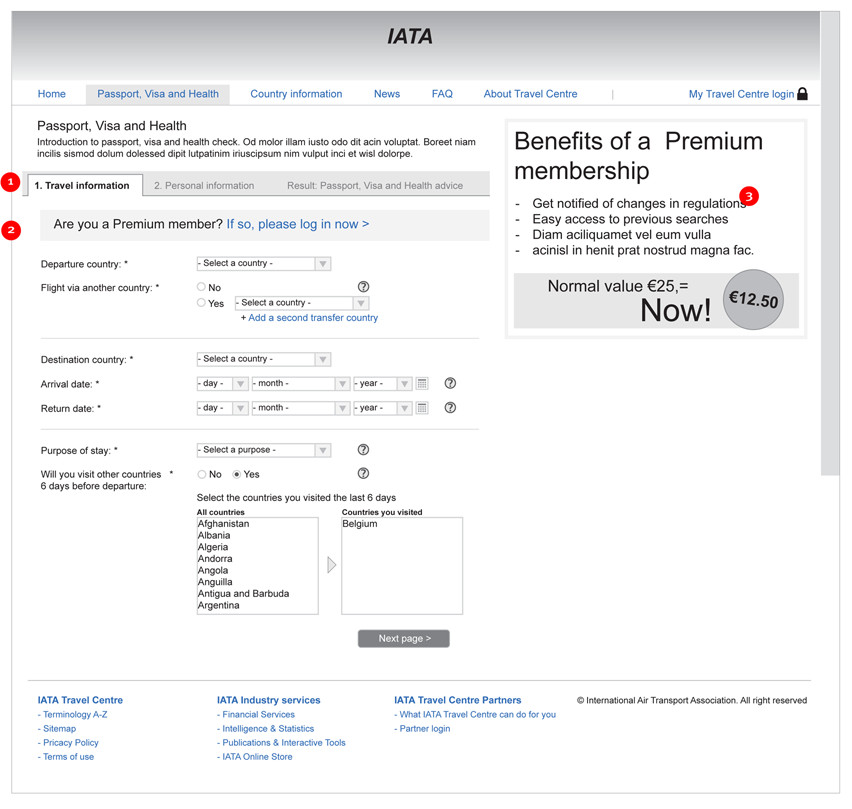 IATA Travel Centre - form: enter your travel information - interaction design