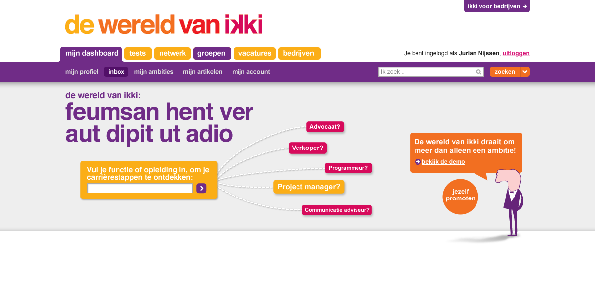 ikki career navigator - start - interaction design
