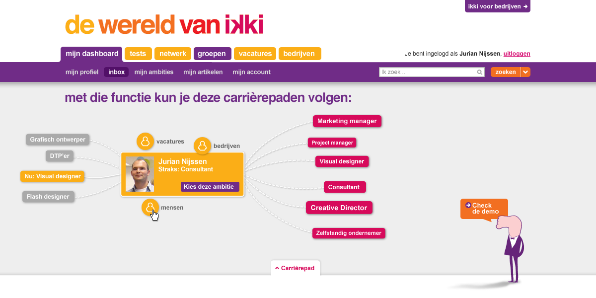 ikki career navigator - career goal - interaction design