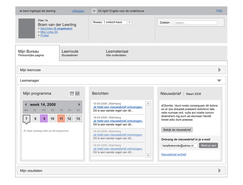 Malmberg - Lesmanager overview - interaction design