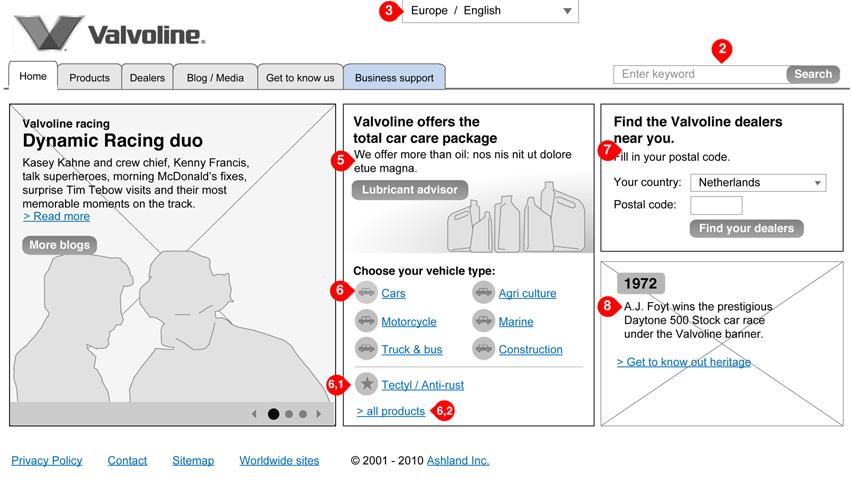 Valvoline - homepage - interaction design