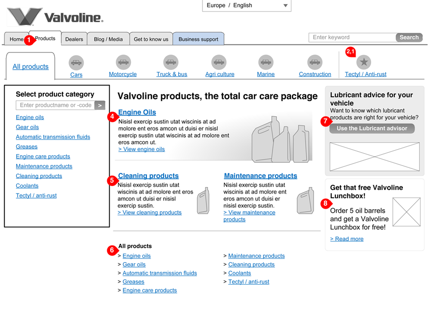 Valvoline - product category - interaction design