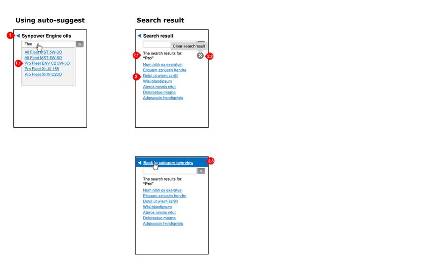Valvoline - search in navigation - interaction design