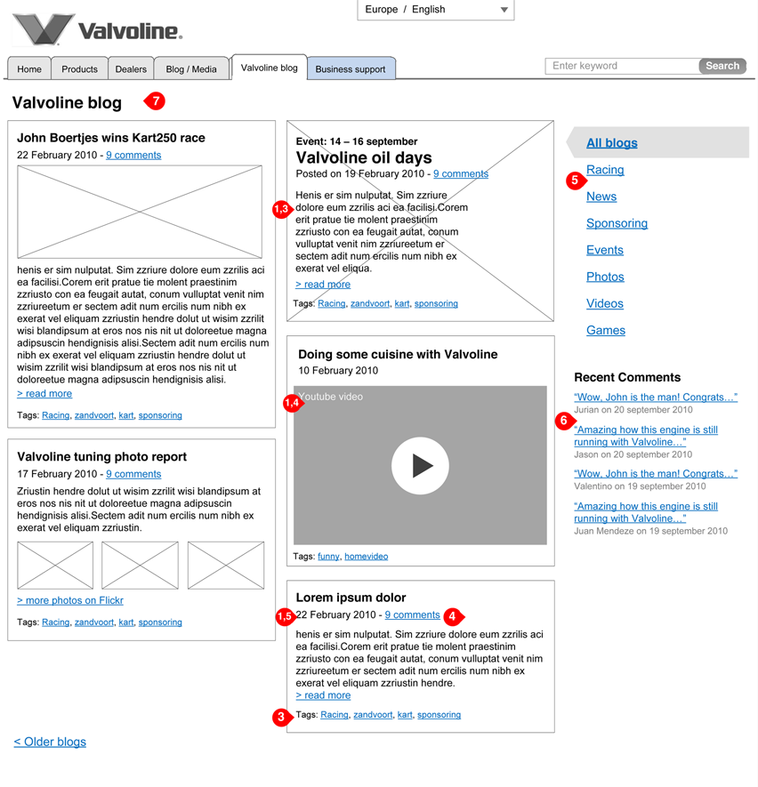 Valvoline - interaction design